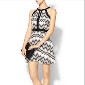 PARKER Nila black white silk chevron dress Small